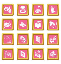 election voting icons set pink square vector image