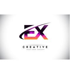 Ex e x grunge letter logo with purple vibrant vector