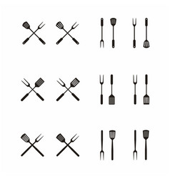 fork and spatula for bbq grill barbecue logo vector image