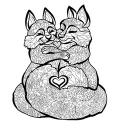 fox coloring pages graphic black-and-white image vector image