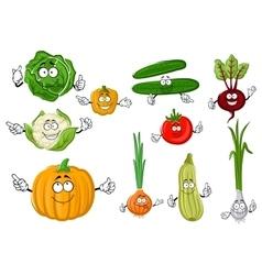 Fresh and tasty cartoon farm vegetables vector image
