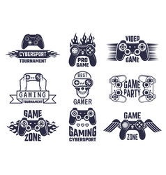 Gaming logo set video games and cyber sport vector