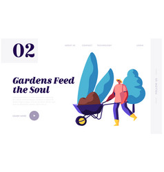 gardener character at work landing page man vector image