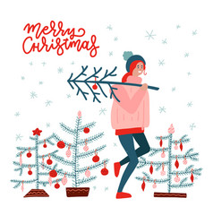girl carrying a christmas tree merry christmas vector image