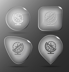 Globe and clock Glass buttons vector