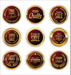 golden badges and labels with laurel wreath vector image