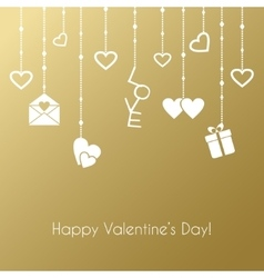 Greeting card for Valentines Day with hanging vector image