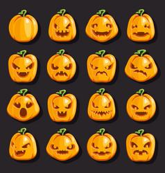 halloween jack o lantern pumpkin scary faces smile vector image
