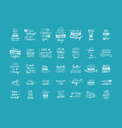 hand-drawn white lettering quotes about sea vector image