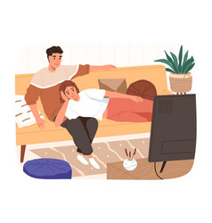 happy family relaxing on couch watching tv vector image