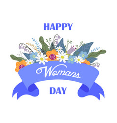 happy womans day floral hand draw design concept vector image