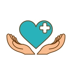 Heart with cross icon vector