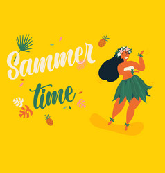 hula hawaii girl ready for luau summer time vector image