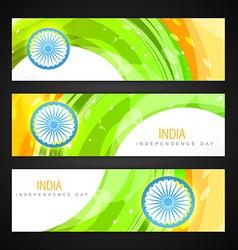 Indian flag headers set vector