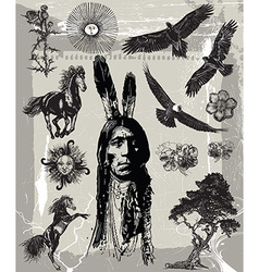 Indian Warrior Sitting Bull portrait - Freehand vector