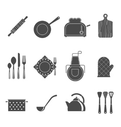 Kitchen tools accessories black icons set vector