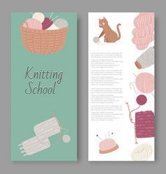 knitting school and arts and crafts set of vector image