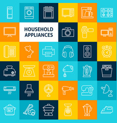 Line household icons vector