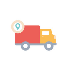 Location pin and cargo truck icon block style vector
