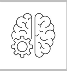 Logo icon with brain and gear cog abstract vector