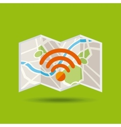 Map paper guide with wifi zone vector