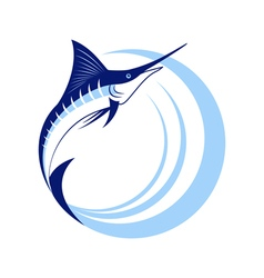 Marlin fish with sea waves vector