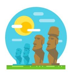 Moai statue flat design landmark vector
