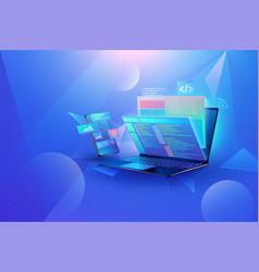 mobile app development concept design vector image