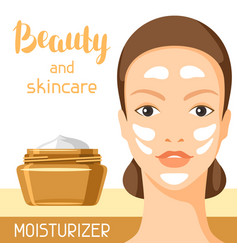 Moisturizing cream beauty and skin care vector