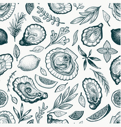 oysters and spices seamless pattern hand drawn vector image