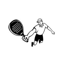 Padel player with racquet retro mascot vector
