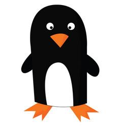 Penguin in orange or color vector