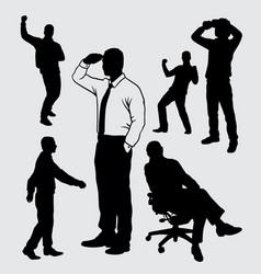 people gesture silhouette vector image