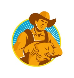 Pig Farmer Holding Piglet Front Retro vector image