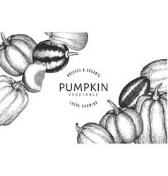 pumpkin design template hand drawn thanksgiving vector image