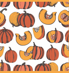 pumpkins hand drawing seamless pattern for design vector image