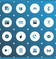 Ramadan icons colored set with hajj mecca vector