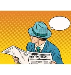 Retro man reading morning news vector