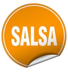 Salsa round orange sticker isolated on white vector