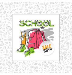 School sale backpack sneakers and vector