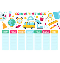 School timetable learnings classes scheduling vector