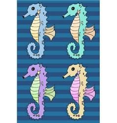 Seahorse cartoon set vector