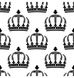 seamless pattern vintage royal crowns vector image