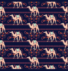 Seamless pattern with camels and oriental vector
