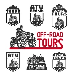 Set atv vehicle logo and emblems all-terrain vector