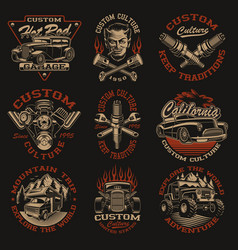 Set designs in vintage style for vector