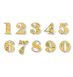 Set of floral yellow numbers vector