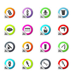 Set of hairdressing equipment icons set vector