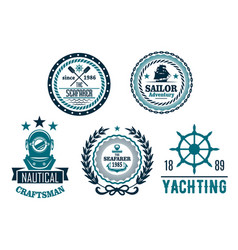 Set of nautical anchor or marine helm icons vector