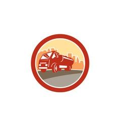 Sewage Drainage Truck Hydro Unit Oval Retro vector